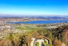 Flyg- sikt på staden av Zurich och sjön Zurich Royaltyfria Foton