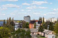 Flyg- sikt på staden Kremenchug i Ukraina arkivbild