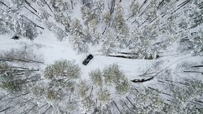 Flyg- sikt på SUV 6x6 som rider vid vintervägen i snö-täckt skog Royaltyfri Foto