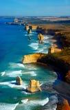 Flyg- sikt på tolv apostlar, stor havväg, Australien. Royaltyfria Foton
