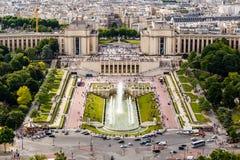 Flyg- sikt på Trocadero springbrunnar från Eiffeltorn Arkivbilder