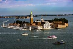 Flyg- sikt p? den San Giorgio Maggiore ?n, Venedig, Italien arkivbild
