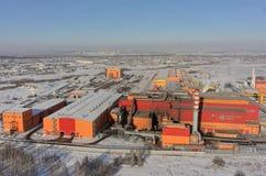 Flyg- sikt på fabrik för järn- och stålarbeten Ryssland Arkivfoto