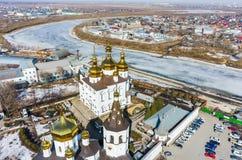 Flyg- sikt på kloster för helig Treenighet Fotografering för Bildbyråer