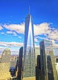 Flyg- sikt på mitt och Freedom Tower för värld finansiell Fotografering för Bildbyråer