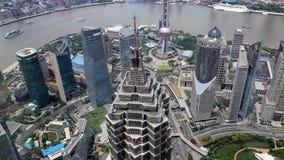 Flyg- sikt, panorama av Shanghai horisont i Kina