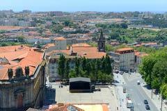 Flyg- sikt Porto för gammal stad, Portugal Arkivfoton