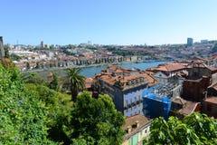 Flyg- sikt Porto för gammal stad, Portugal Royaltyfri Fotografi