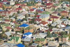 Flyg- sikt till bostadsområdet av den Astana staden, Kasakhstan Royaltyfri Fotografi