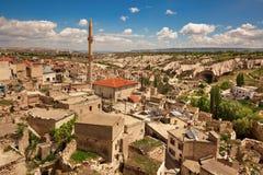 Flyg- sikt till den turkiska byn i Cappadocia Royaltyfria Bilder