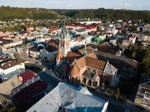 Flyg- sikt till dominikankyrkan i Chortkiv Fotografering för Bildbyråer
