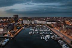 Flyg- sikt till hamnen av Antwerp från taket Arkivfoto