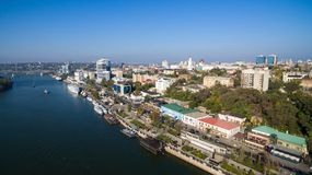 Flyg- sikt till invallningen av Rostov-On-Don Ryssland Arkivfoton