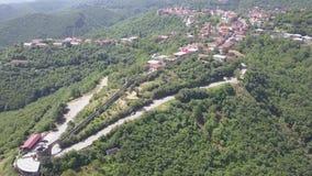 Flyg- sikt till mitten av den Sighnaghi staden i region för Georgia ` s av Kakheti Signagi stock video
