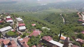 Flyg- sikt till mitten av den Sighnaghi staden i region för Georgia ` s av Kakheti Signagi lager videofilmer