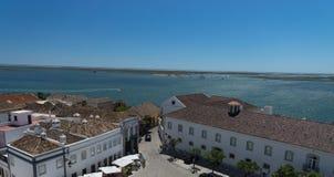 Flyg- sikt till mitten av staden Faro, Portugal Royaltyfri Fotografi