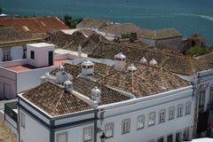 Flyg- sikt till mitten av staden Faro, Portugal Arkivbild