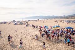 Flyg- sikt ?ver Santa Monica Beach i Los Angeles - LOS ANGELES, USA - MARS 29, 2019 royaltyfri foto