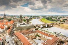 Flyg- sikt över staden av Dresden Arkivfoto