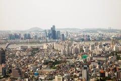 Flyg- sikter av Seoul, Sydkorea arkivfoton