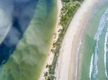 Flyg- sikter för nytt eller salt vatten av havet och floden royaltyfri fotografi