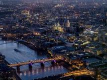 Flyg- sikter runt om London - St-pauls Arkivfoto