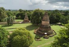 Flyg- siktsWiang Tha Kan historisk tempel på Lumphun i Thailand Arkivbild