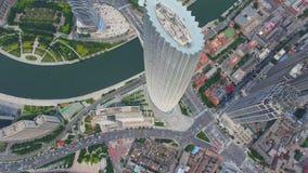 Flyg- skott av moderna byggnader och stads- cityscape, Tianjin, Kina arkivfilmer