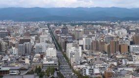 Flyg- skott av staden av Kyoto lager videofilmer