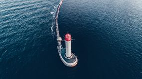 Flyg- skott på Odessa Lighthouse, Odessa Ukraine arkivfoton