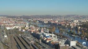 Flyg- skytte av Prague den huvudsakliga stationen arkivfilmer