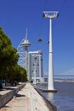 Flyg- spårväg/Vasco da Gama Tower - Lissabon Arkivfoto