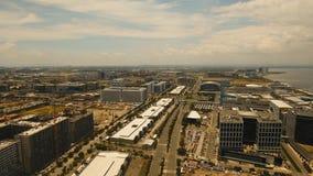 Flyg- stad med skyskrapor och byggnader Filippinerna Manila, Makati arkivbild