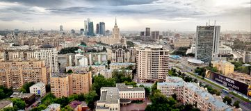 flyg- stadsmoscow panorama Royaltyfri Fotografi