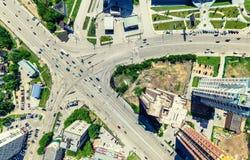 Flyg- stadssikt stads- liggande Helikopterskott panorama- bild Royaltyfria Bilder