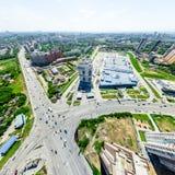 Flyg- stadssikt stads- liggande Helikopterskott panorama- bild Arkivfoton