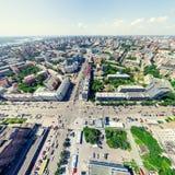 Flyg- stadssikt stads- liggande Helikopterskott panorama- bild Royaltyfri Fotografi