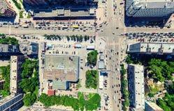 Flyg- stadssikt stads- liggande Helikopterskott panorama- bild Arkivfoto