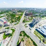 Flyg- stadssikt stads- liggande Helikopterskott panorama- bild Fotografering för Bildbyråer
