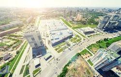 Flyg- stadssikt stads- liggande Helikopterskott panorama- bild Arkivbilder