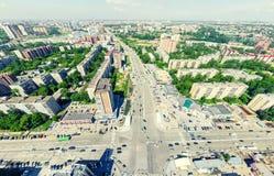 Flyg- stadssikt stads- liggande Helikopterskott panorama- bild Royaltyfri Foto