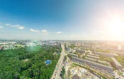 Flyg- stadssikt stads- liggande Helikopterskott panorama- bild Arkivbild