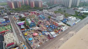 Flyg- surr videopd Coney Island Brooklyn NY stock video
