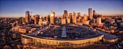 Flyg- surrfoto - Denver Colorado på solnedgången Fotografering för Bildbyråer