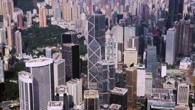 Flyg- surrlängd i fot räknat i Hong Kong, en av Asien mest iconic moderna städer stock video