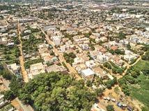 Flyg- surrsikt av niarelaen Quizambougou Niger Bamako Mali Arkivbild