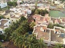 Flyg- surrsikt av niarelaen Quizambougou Niger Bamako Mali Royaltyfri Foto