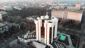 Flyg- surrsikt av presidentsämbetebyggnad på soluppgång lager videofilmer