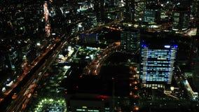 flyg- Tid schackningsperiod för 4K av den Yokohama staden, Japan arkivfilmer