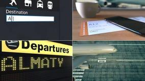 Flyg till Almaty Resa till Kasakhstan den begreppsmässiga montageanimeringen lager videofilmer